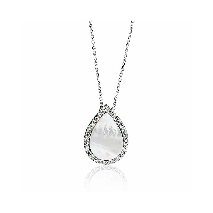 Gaia Silver Teardrop Mother Of Pearl & Crystal Pendant - Product number 3762955