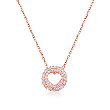Gaia Rose Gold Plated Cubic Zirconia Round Heart Pendant - Product number 3762971