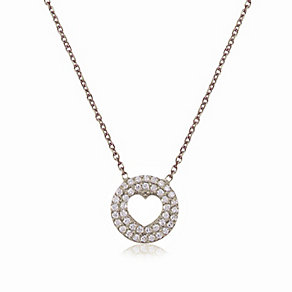 Gaia Sterling Silver Crystal Round Heart Pendant - Product number 3762998