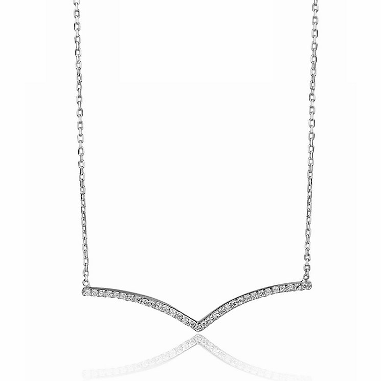 Gaia Sterling Silver & Cubic Zirconia Wishbone Necklace - Product number 3763005