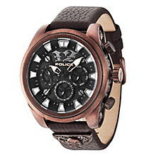Police Men's Black Dial Brown Leather Strap Watch - Product number 3763056