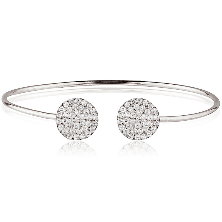 Gaia Sterling Silver Pave Cubic Zirconia Double Disk Bangle - Product number 3763099