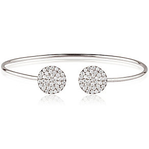 Gaia Sterling Silver Pave Crystal Double Disk Bangle - Product number 3763099
