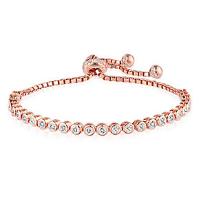 Gaia Rose Gold-Plated Stone Set Tennis Bracelet - Product number 3763110