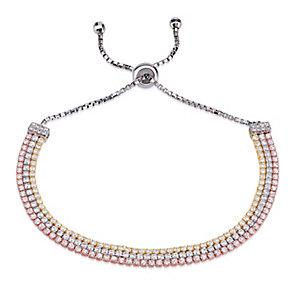 Gaia Sterling Silver 3 Colour Stone Set Bolo Bracelet - Product number 3763137