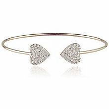 Gaia Sterling Silver Pave Cubic Zirconia Double Heart Bangle - Product number 3763153