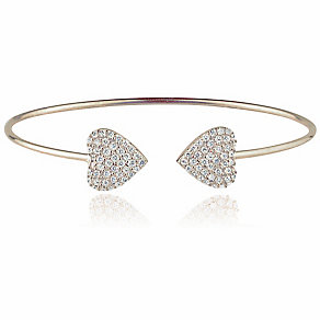 Gaia Sterling Silver Pave Crystal Double Heart Bangle - Product number 3763153