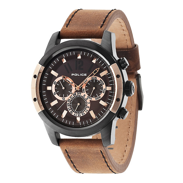 police watches men s ladies police watches h samuel police men s brown dial brown leather strap watch product number 3763161