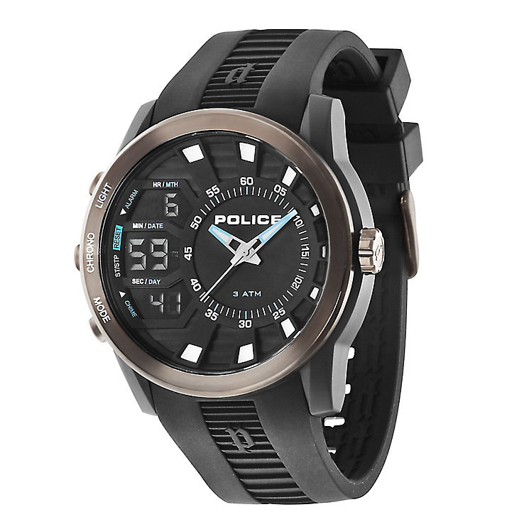 Police Men's Black Dial Black Rubber Strap Watch - Product number 3763196