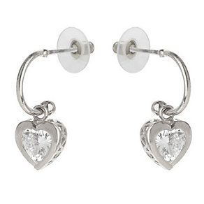 Mikey Silver Tone Heart Shaped Crystal Drop Earrings - Product number 3763234
