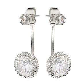 Mikey Silver Tone Round Clear Crystal Drop Earrings - Product number 3763250