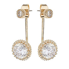 Mikey Yellow Gold Tone Round Clear Crystal Ear Jakcets - Product number 3763269