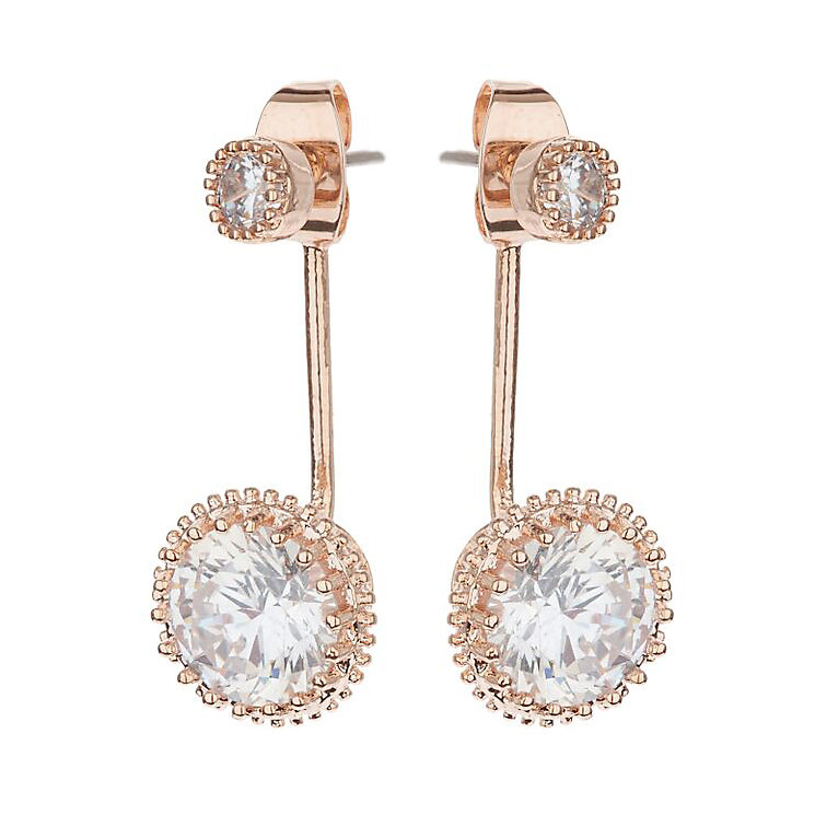 Mikey Rose Gold Tone Round Clear Crystal Ear Jackets - Product number 3763277