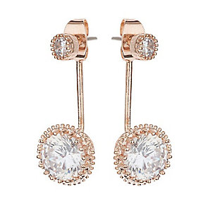 Mikey Rose Gold Tone Round Clear Crystal Drop Earrings - Product number 3763277