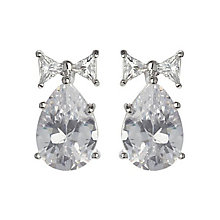 Mikey Silver Tone Bow & Pear Shaped Crystal Stud Earrings - Product number 3763285