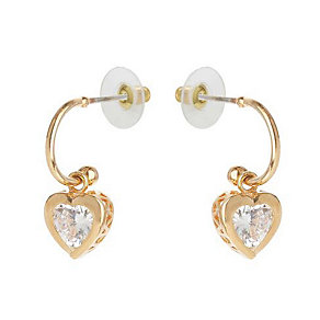 Mikey Rose Gold Toned Heart Shaped Crystal Drop Earrings - Product number 3763315