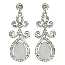 Mikey Silver Tone Pear Shaped Stone Set Drop Earrings - Product number 3763323