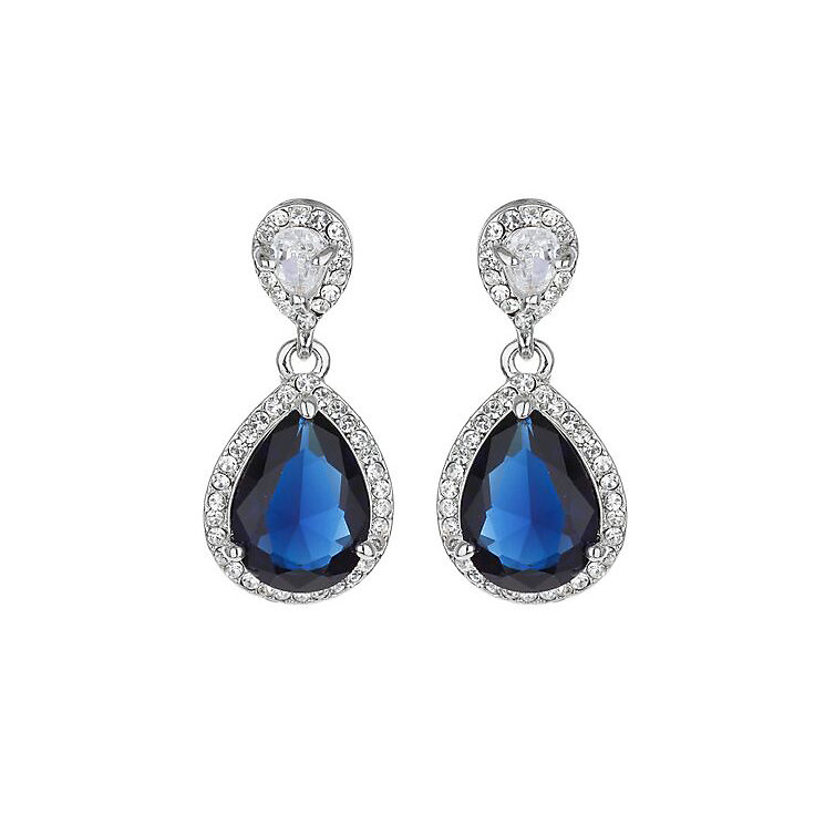Mikey Clear & Sapphire Blue Teardrop Crystal Earrings - Product number 3763374