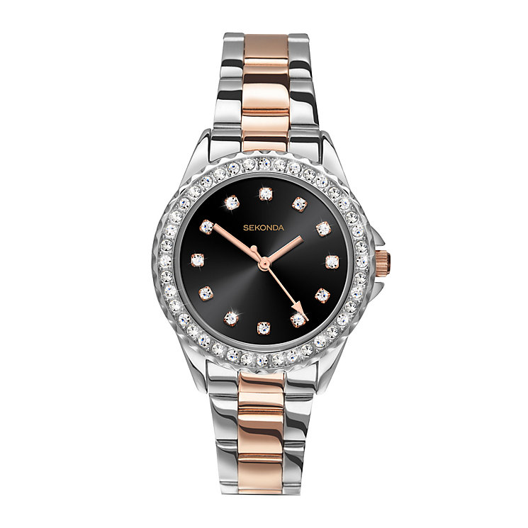 Sekonda Editions Ladies' Stone Set Two Colour Bracelet Watch - Product number 3765067