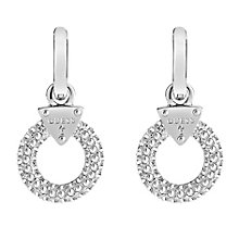 Guess Rhodium Plated Stone Set Circle Drop Earrings - Product number 3765199