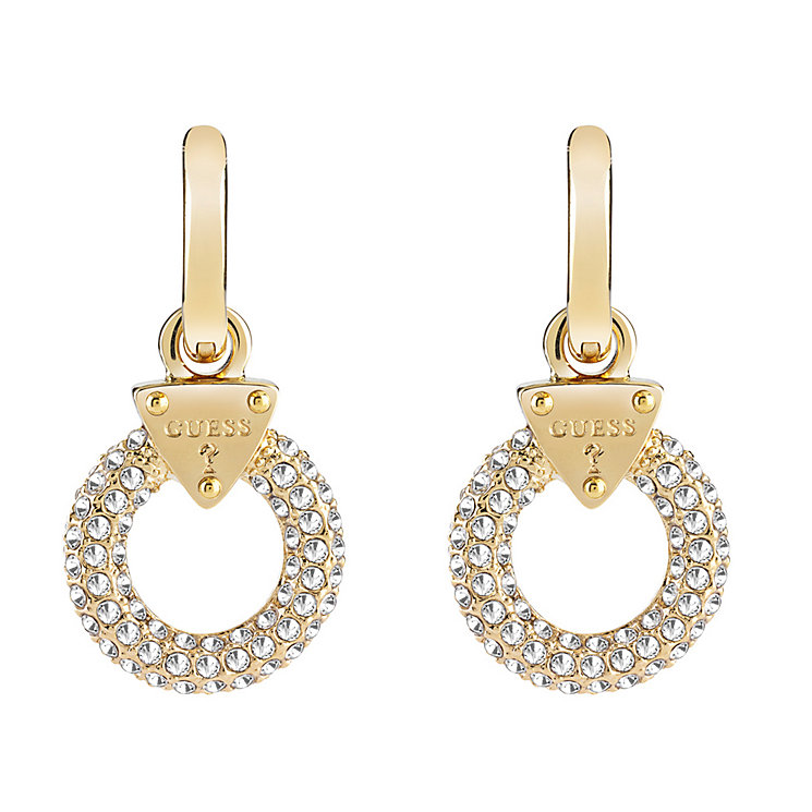Guess Yellow Gold Plate Stone Set Circle Drop Earrings - Product number 3765202