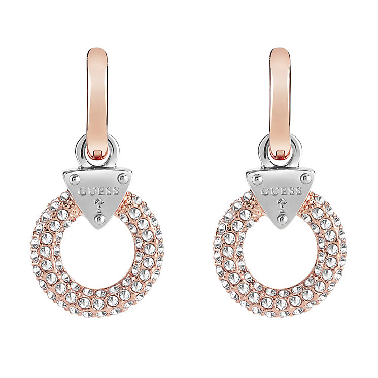 Guess Rose Gold Plate Stone Set Circle Drop Earrings - Product number 3765210