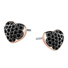 Guess Rose Gold Plated Black Crystal Heart Stud Earrings - Product number 3765229