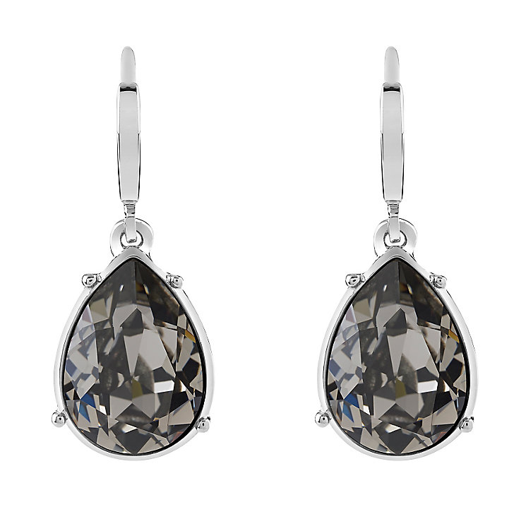 Guess Rhodium Plated Grey Crystal Drop Earrings - Product number 3765237