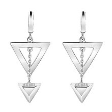Guess Rhodium Plated Double Triangle Logo Drop Earrings - Product number 3765245