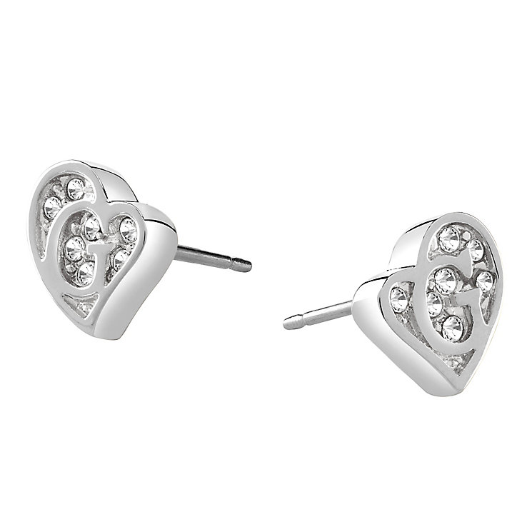 Guess Rhodium Plated Crystal Heart Shape Logo Stud Earrings - Product number 3765253