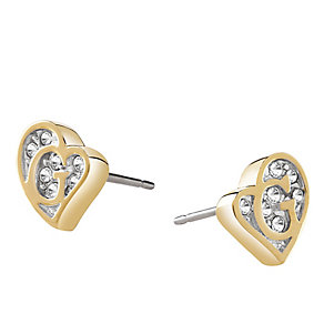 Guess Yellow Gold Plated Crystal Heart Shape Logo Earrings - Product number 3765261