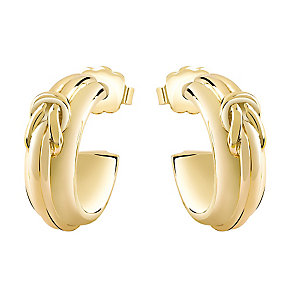 Guess Yellow Gold Plated Knot Detail Hoop Earrings - Product number 3765296
