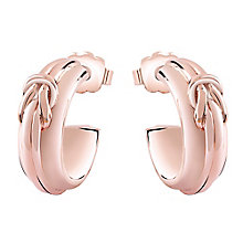 Guess Rose Gold Plated Knot Detail Hoop Earrings - Product number 3765318