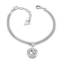 Guess Rhodium Plated Heart Crystal Bracelet - Product number 3765326