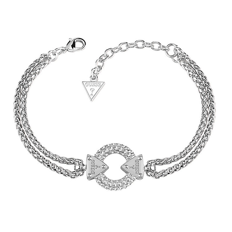 Guess Rhodium Plated Chain Circle Lock Bracelet - Product number 3765334