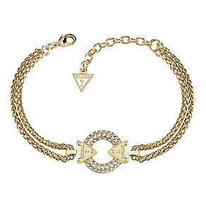 Guess Yellow Gold Plated Chain Circle Lock Bracelet - Product number 3765342