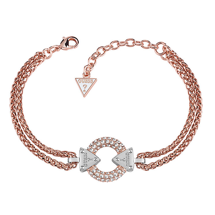 Guess Rose Gold Plated Chain Circle Lock Bracelet - Product number 3765350