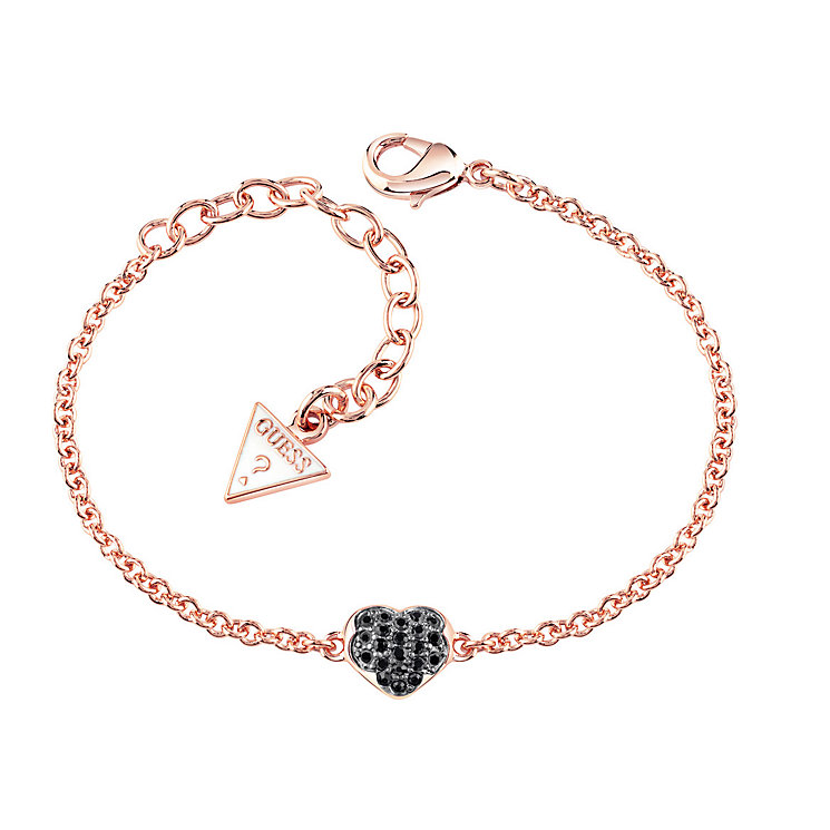 Guess Rose Gold Plated Black Crystal Heart Bracelet - Product number 3765369
