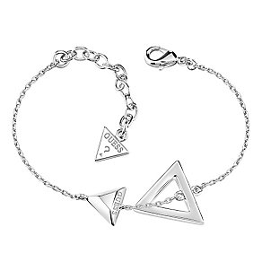 Guess Rhodium Plated Double Triangle Logo Bracelet - Product number 3765377