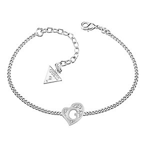 Guess Rhodium Plated Crystal Heart Shape Logo Bracelet - Product number 3765385