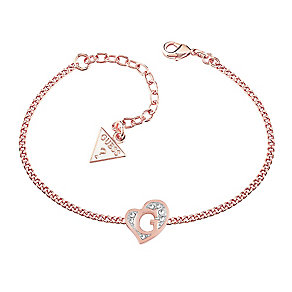 Guess Rose Gold Plated Crystal Heart Shape Logo Bracelet - Product number 3765393