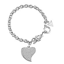 Guess Rhodium-Plated Pave Stone Set Heart Charm Bracelet - Product number 3765407