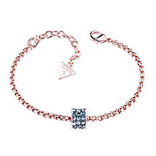 Guess Rose Gold-Plated 3 Row Stone Set Charm Bracelet - Product number 3765474