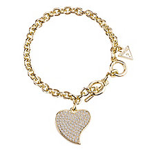 Guess Gold-Plated Pave Stone Set Heart Charm Bracelet - Product number 3765482