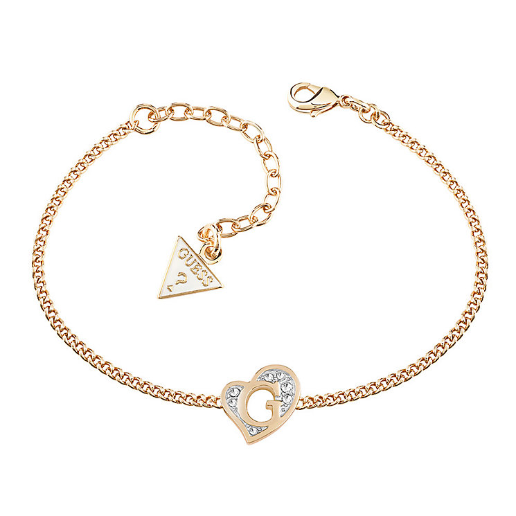 Guess Gold-Plated Stone Set Heart Bracelet - Product number 3765490