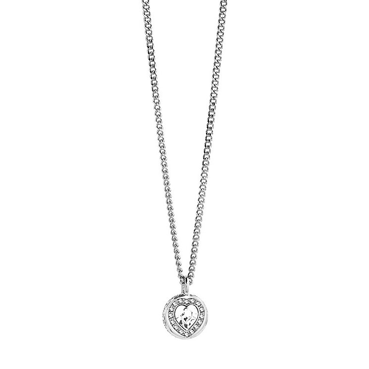 Guess Rhodium-Plated Pave Stone Set Heart Pendant - Product number 3765504