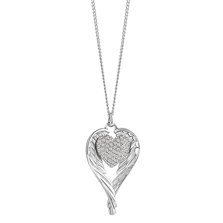Guess Rhodium-Plated Winged Pave Stone Set Heart Pendant - Product number 3765512