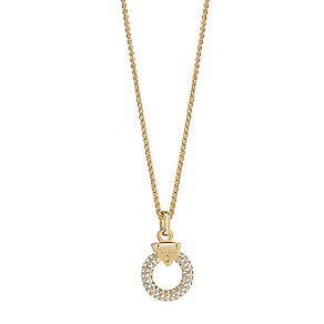 Guess Gold-Plated Pave Stone Set Circle Lock Pendant - Product number 3765547