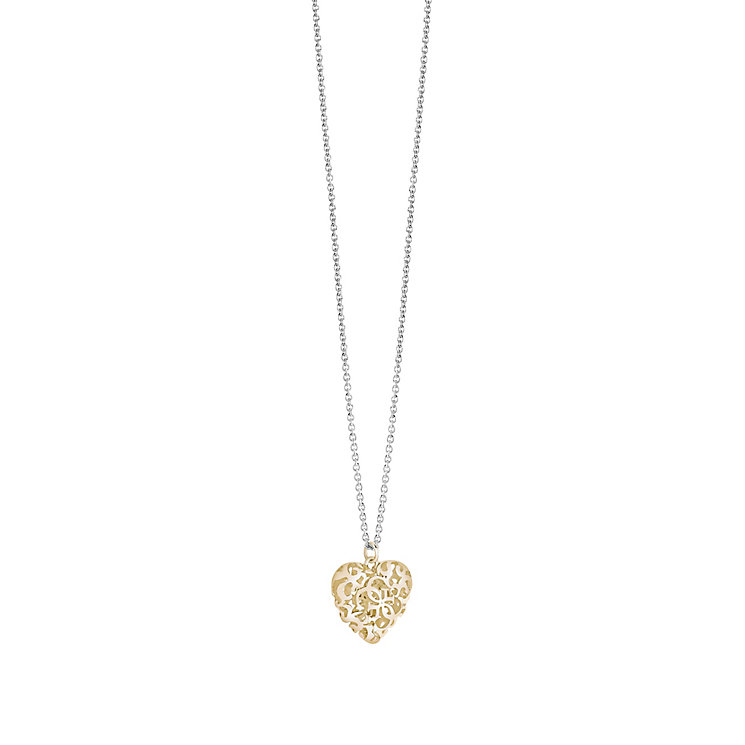 Guess Gold-Plated & Rhodium-Plated Ornamental Heart Pendant - Product number 3765601