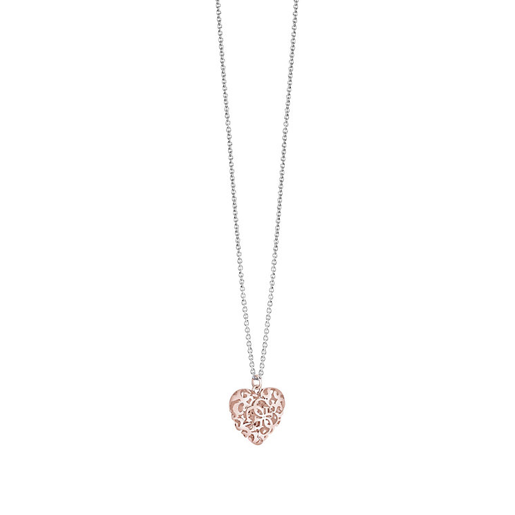 Guess Rose Gold-Plated Ornamental Heart Pendant - Product number 3765628